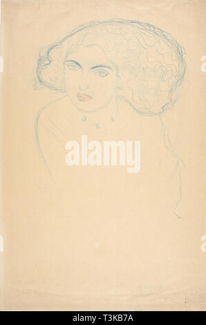 Testa di donna, c. 1916. Creatore: Klimt, Gustav (1862-1918).