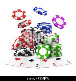 Aces con pila o mucchio di sport scommesse chips Foto Stock