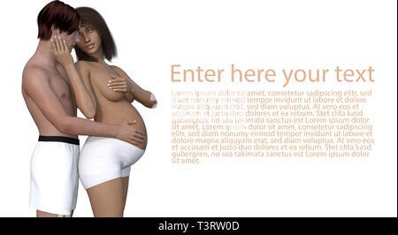 Donna incinta con il suo uomo - coppia felice - isolatet su bianco Foto Stock