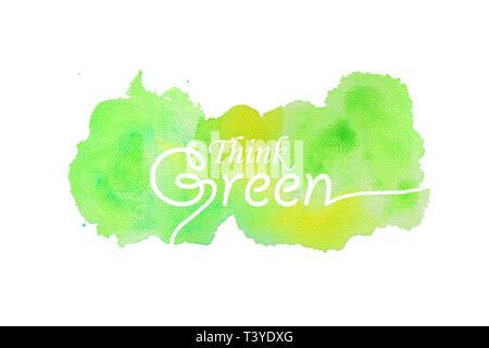 Pensare verde il testo con texture di sfondo ad acquerello Foto Stock