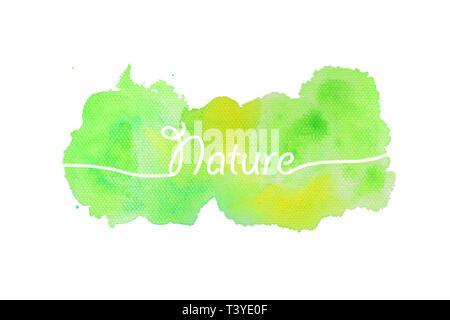 La natura del testo con texture di sfondo ad acquerello Foto Stock