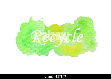 Testo Recycle con texture di sfondo ad acquerello Foto Stock