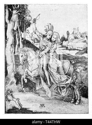 Coppia giovane, fuga romantica di un cavaliere e una donna su un stallone bianco acceso da un castello per i boschi, disegno da da Albrecht Dürer ca. 1496