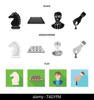Knight,scacchiera,l'uomo,mano,cavallo,board,faccia,Re,scacchiera,maschio, la nozione,bianco,vuota,giovane,azienda,testa,tabella,guy,spostamento,la figura,gabbia,persona,guida,torneo,verificare, capelli, strategic,scultura,legno,uomini,checkmate,sottile, club,target,scacchi,gioco,pezzo,strategia,tactical,gioco,impostare,vettore,icona,immagine,isolato,raccolta,design,l'elemento,graphic,segno vettori vettore , Foto Stock