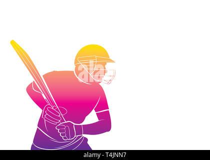 Giocatore di cricket di colpire per big shot poster design, grande palla per scrivere il tuo commento o pubblicizzare luogo di testo