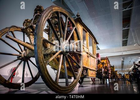 Lisbona, Portogallo Allenatore Nazionale Museo a Lisbona, Portogallo. Mostre di carrozze antiche Foto Stock