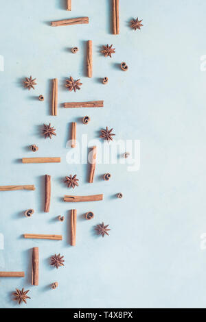 La cannella e anice stella su un bianco sullo sfondo di legno con copia spazio. Cucina creativa laici piatto con spezie. Foto Stock