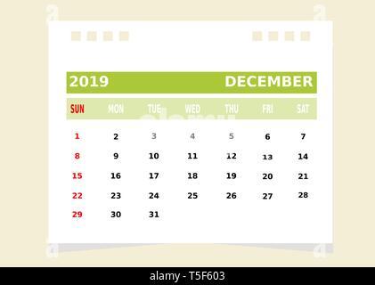 Calendario Mese Dicembre 2019.2019 Calendario Mese Di Dicembre Vettore Calendario
