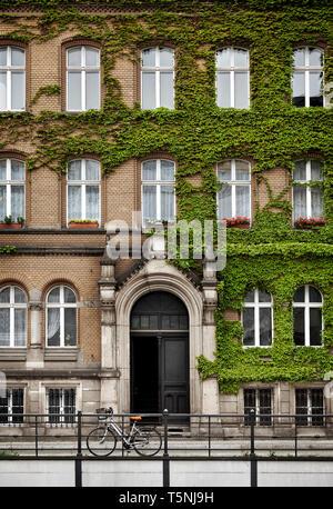 Architettura neoclassica edificio dal nord Europa. Ivy sulla facciata e la bicicletta nella parte anteriore della porta. Foto Stock