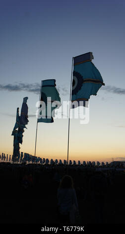 Glastonbury Festival Bandiere Foto Stock