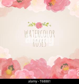 Acquerello Rose Foto Stock