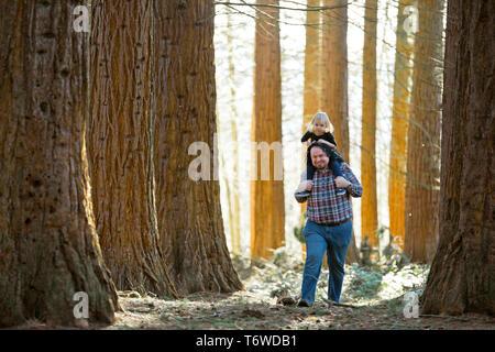 Padre porta la sua figlia sulle sue spalle attraverso la foresta