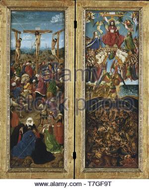 Jan-van-Eyck-The Crocifissione; l'ultima sentenza, dittico Foto Stock