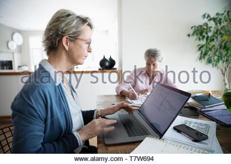 Donna di pagare le bollette online al computer portatile mentre senior madre di colori in background Foto Stock