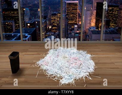 3D rendering di documenti di trinciato in un ufficio vuoto nella città di New York Foto Stock