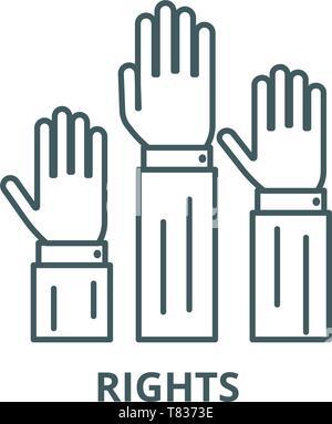 Diritti,tre mani di linea del vettore icona, concetto lineare, segno di contorno, simbolo Foto Stock