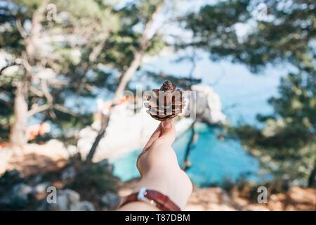 Una ragazza tiene in mano un cono di abete sullo sfondo di un paesaggio naturale con dervisci e il mare. Eco-friendly concetto. Foto Stock