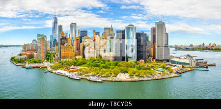 Panoramica aerea di Downtown skyline di New York Foto Stock