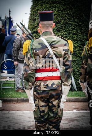 Strasburgo, Francia - 8 Maggio 2017: cerimonia per gli alleati occidentali la Seconda Guerra Mondiale la vittoria armistizio in Europa segna il 72º anniversario della vittoria sulla Germania nazista nel 1945 - Foto Stock