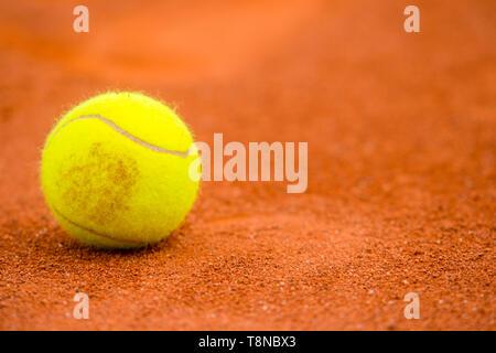 Palla da tennis su un campo da tennis in terra battuta Foto Stock