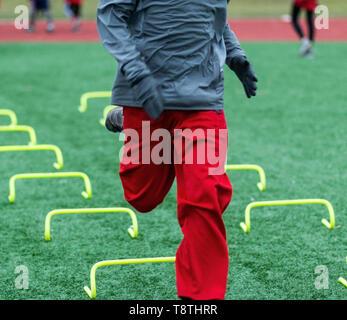 Una scuola di runner è in volata su giallo mini ostacoli su un tappeto erboso verde campo in un freddo giorno di dicembre. Foto Stock