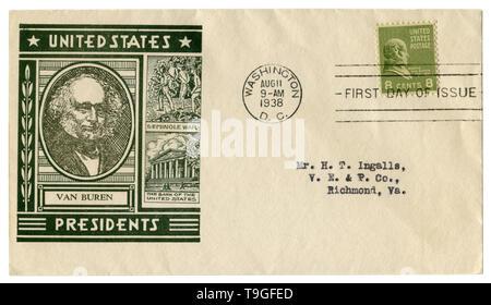 Washington D.C., USA - 11 agosto 1938: noi busta storico: il coperchio con un cachet ritratto di ottavo Presidente Martin Van Buren, verde francobollo