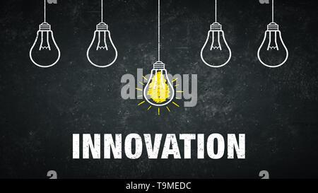 Banner Innovazione - lampadine a sfondo rustico Foto Stock