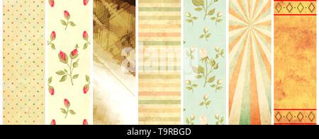 Set di verticale o orizzontale di banner con carta vecchia texture e modelli retrò in shabby chic stile con strisce, pois, rose fiori Foto Stock