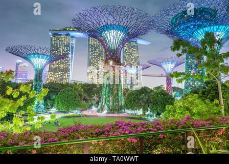 Singapore 26. Gennaio 2019 : Giardini dalla baia con il Super alberi di notte, sullo sfondo la Marina da Sands Hotel Foto Stock
