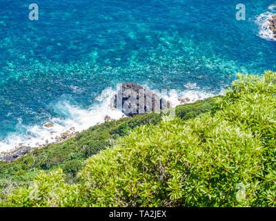 Immagine del mare con scogli lungo una costa Foto Stock