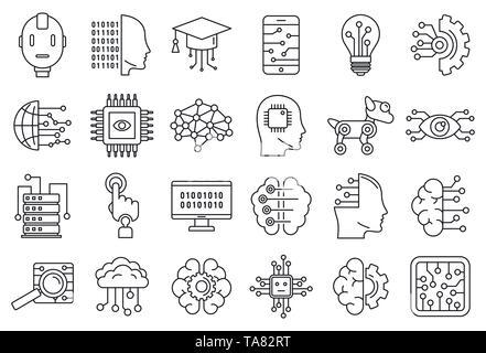 Sistema di intelligenza artificiale set di icone. Set di contorno del sistema di intelligenza artificiale icone vettoriali per il web design isolato su sfondo bianco Foto Stock