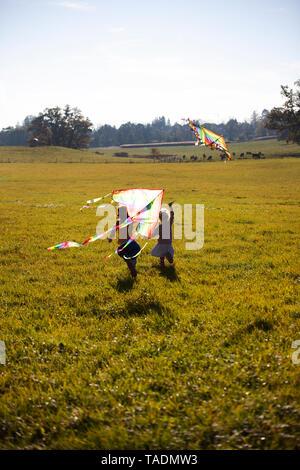 Due ragazze in esecuzione in campo con kite Foto Stock