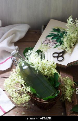 In casa sciroppo di fiori di sambuco in un vasetto di vetro e sambuco filiali su un tavolo in legno in stile rustico. Foto Stock
