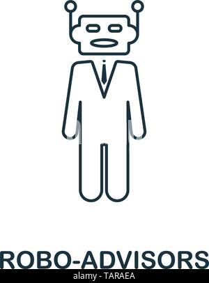 Icona Robo-Advisors outline stile. Linea sottile design di fintech raccolta di icone. Pixel perfect robo-icona di consulenti per il web design, applicazioni software Foto Stock