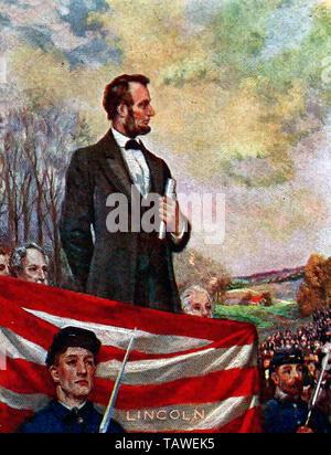 Abraham Lincoln fornendo l'indirizzo di Gettysburg Foto Stock