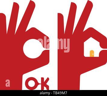 Illustrazione Vettoriale. Icona della mano di immobili per scopi. Piatta e semplice. Foto Stock