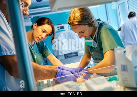 Team di medici e infermieri che frequentano per un bambino, neonatale pediatria, cure mediche, neonatale unità di cura intensiva, UVI, ICU, Ospedale Donostia, San