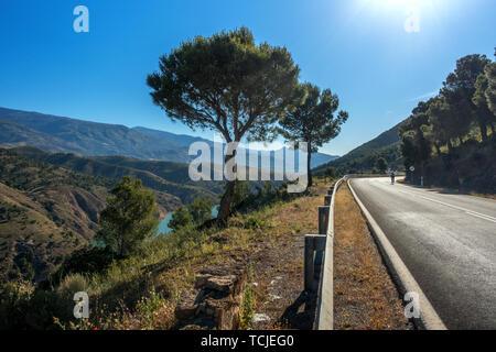 Ciclista in sella ad una bici su strada verso Orgiva sulla bellissima A-346 road north passato Guadalfeo/Regole serbatoio Foto Stock