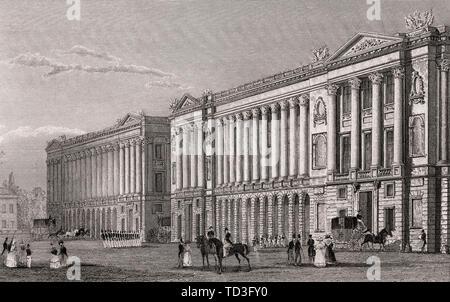 French Naval ministero, Garde-Meuble de la Couronne, Place de la Concorde, Paris, antichi di acciaio inciso stampa, 1831 Foto Stock