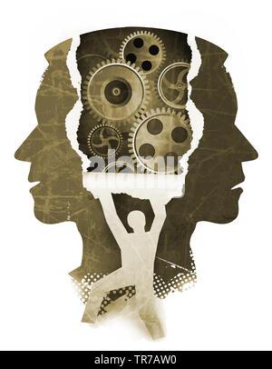 Chizophrenia esame psichiatrico concetto. Stilizzata testa maschio sagome e silhouette maschio rip sfondo della carta con l'ingranaggio. Foto Stock