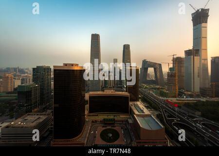 Lo skyline di Beijing Chaoyang al quartiere centrale degli affari di Pechino, Cina. Foto Stock