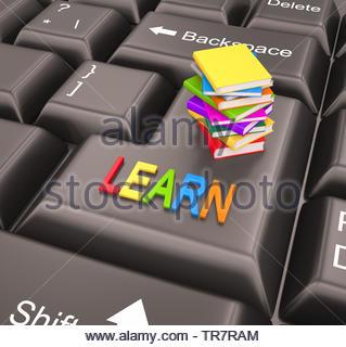 Educazione tramite Internet , libri colorati , 3D render Foto Stock