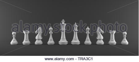 Figure di Scacchi su sfondo grigio Foto Stock