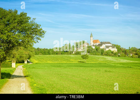 Chiostro Andechs in primavera, in Germania, in Baviera Foto Stock