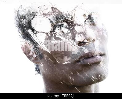 Fotografia di Ritratto si fonde con lavori artistici originali Foto Stock