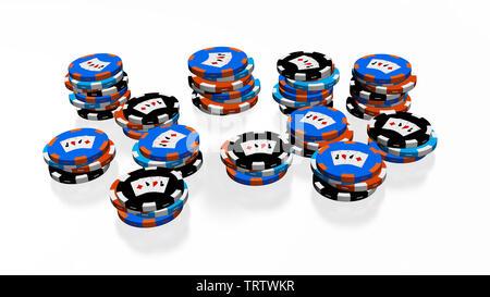 Un sacco di Casino Poker chips impilato con alcuni colori differenti su uno sfondo bianco Foto Stock