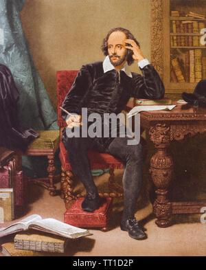 WILLIAM Shakespeare (1564-1616) poeta inglese e drammaturgo in una incisione colorata circa 1760 Foto Stock
