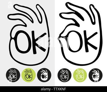 Abstract OK simbolo mano. Logo template vettoriale. Set di simboli vettoriali isolati su sfondo bianco. Foto Stock