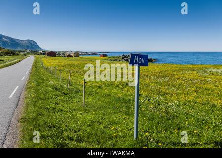 Villaggio Hov segno, Norvegia. Foto Stock