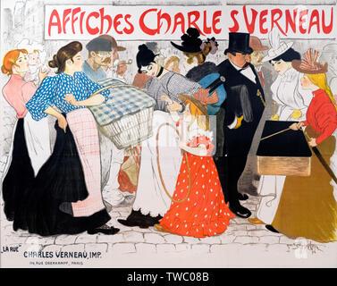 La Rue: Affiches Charles Vernau, un Art Nouveau poster da Théophile Alexandre Steinlen (1859-1923), litografia, 1896
